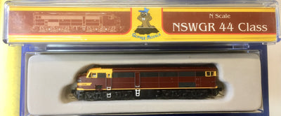 44 Class Mk2 Indian Red no red lines NSWGR LOCOMOTIVE, GOPHER MODELS N Scale.