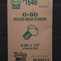 #1646 Screws Stainless Steel 0-80 x 1/4in