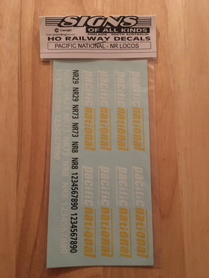 S0AK 076 DECAL for PACIFIC NATIONAL NR LOCOMOTIVES, HO