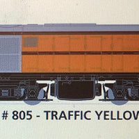 800 class DC Powered - #004 Loco No 805 in TRAFFIC YELLOW - SOUTH AUSTRALIAN RAILWAYS:  SDS Models NOW AVAILABLE: Non Sound
