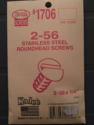 #1706 KADEE Screws Stainless Steel 2-56 x 1/4in