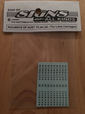 "SK203: Decal ""Railways of Australia"" 10 per pk- For Lima silver passenger car HO cars. SOAK Decal"