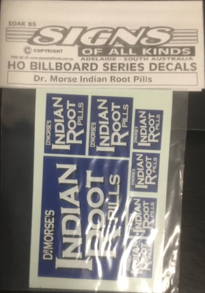 "SK 85 ""Billboard Series""  ""Dr Morse Indian Root Pills"" DECAL"