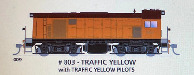 800 class DC Powered - #009 Loco No 803 in TRAFFIC YELLOW With Yellow Pilots- SOUTH AUSTRALIAN RAILWAYS:  SDS Models NOW AVAILABLE: Non Sound