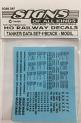 SK 247 DECAL 'NEW' TANKER DATA Sheet SET-1 Black. MOBIL . black on clear  HO
