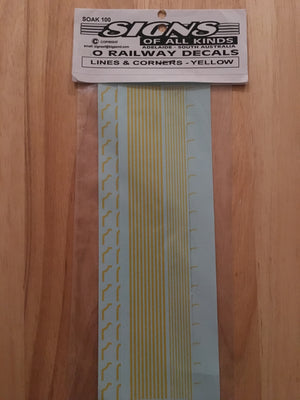 SK100 DECAL for O scale Railway Decals: Lines & Corners - Yellow