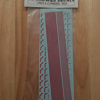 SK97 O scale Railway Decals: Lines & Corners - Red