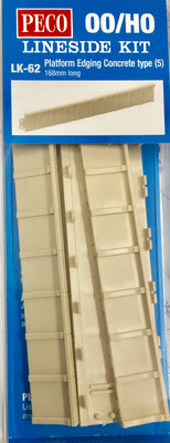 Peco: LK-62 Platform Edging Concrete type (5) 168 mm long Lineside Kit  OO/HO Kit