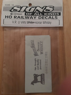 "U VAN SOAK #19 Decal Vic, Rail ""WHITE HORSE WHISKY"" HO (sliver decal)"