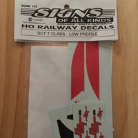 SK103 SCT T Class Low Profile logos locomotive decal HO