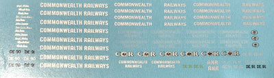 SK192N - COMMONWEALTH RAILWAYS NAMES & LOGO DECAL SHEET - VALUE PK
