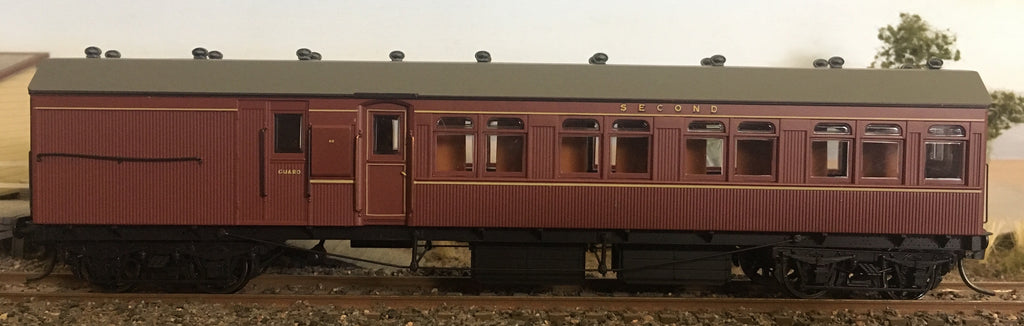 Casula Hobbies: RTR CR Un-numbered 1st/2nd class Composite passenger Car Indian Red.