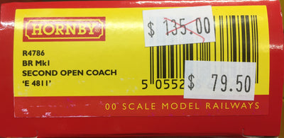 Hornby: new R4786, BR Mk1 2ND CLASS OPEN COACH 'E4811'  NEW MODEL. DISCOUNT PRICE.  RRP $135.00