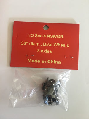 "WHEELS: Casula Hobbies: HO Scale NSWGR 36"" 10.5 mm diam. 23.8 mm axles Disc Wheels (8)"