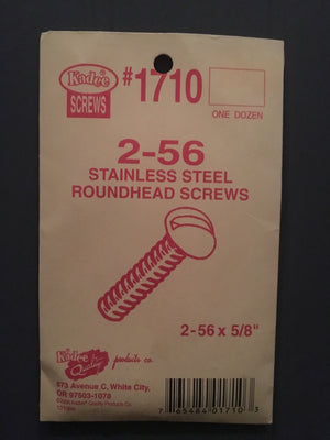 #1710 (2-56 x 5/8) Stainless Steel Roundhead Screws