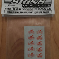 SK115 THE NEW INDIAN PACIFIC PASSENGER CAR LOGO 10 PER PK. HO DECAL HO