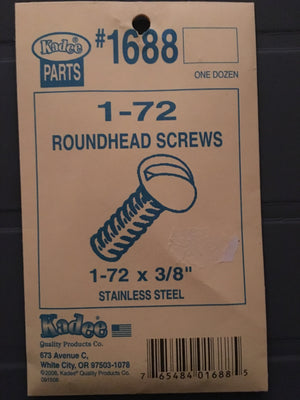 #1688 Screws Stainless Steel 1-72 x 3/8in