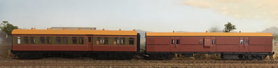 RRP $285 : SAVE $35: CR - EHO R Type Cars Casula Hobbies RTR : CR1183 Tuscan & Russet Composite + EHO1281 Tuscan Brake Van, two Car Set. *