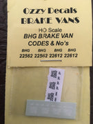 Ozzy Decals Brake Van : BHG Brake Van: Codes & Numbers: Pk3. sheet will do two vans.