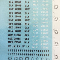 MLV Ozzy Decals: Louver Van GLV, GLX, MLV LV. Letters & numbers CODES & NUMBERS. #1027