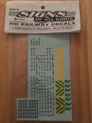 SK 92 DECAL for COMMONWEALTH RAILWAYS AN & CR Budd CARS l