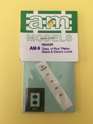 "AM Models : AM-9 ""Dept. of Rlys"" Coat of Arms Plates Diesel & Electric Locos Etch Brass / Decal"