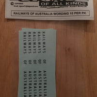 SK180 RAILWAYS   OF  AUSTRALIA WORDING 10 off,(note 2mm HIGH)