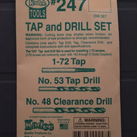 # 247 Tap & Drill for 1-72 screws for HO through O scale Couple