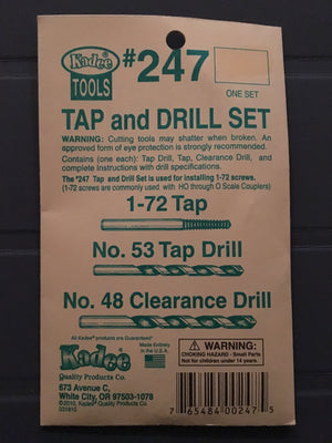 #247 Tap & Drill for 1-72 screws for HO through O scale Couple