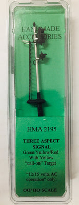 HMA 2195 THREE ASPECT SIGNAL GREEN / YELLOW/ RED WITH YELLOW CALL-ON TARGET 12 TO 15 VOLTS