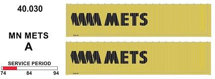 SDS Models: 40.030 A. 40' Jumbo Containers: Twin Packs: MN Mets PKA : 40.030
