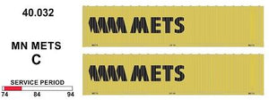 SDS Models: 40.032 C. 40' Jumbo Containers: Twin Packs: MN Mets C : 40.032
