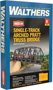 "Walthers: Single-Track Railroad Arched Pratt Truss Bridge -- Kit -Arched Pratt Truss Railroad Bridge -- Single-Track - Kit -14-3/32 x 2 x 3-1/2"" 35.7 x 5 x 8.8cm  933-3870 'N GAUGE"