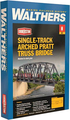 Walthers: Single-Track Railroad Arched Pratt Truss Bridge -- Kit -Arched Pratt Truss Railroad Bridge -- Single-Track - Kit -14-3/32 x 2 x 3-1/2