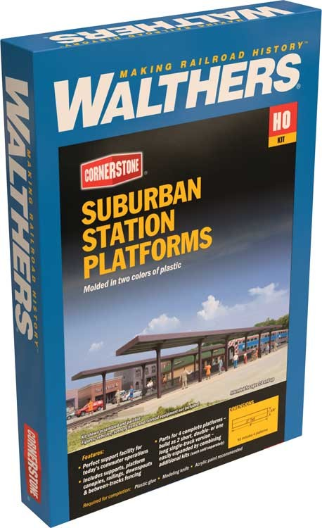 "WALTHERS: Suburban Station Platforms -- Kit(4)  - Each: 16 x 1-5/8 x 2"" 40.6 x 4.1 x 5.1cm#933-4099 HO"