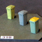 Uneek 310: HO Gauge Railway: Accessories: Otto/wheelie Garbage Bins: Pkt 3: No. 310 .