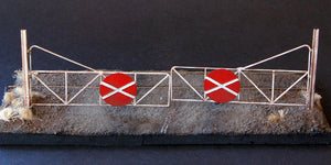 Uneek 612: HO Gauge Railway: Accessories: Level Crossing Gates with Rail Posts (etched brass) :Pkt: 2:  No. 612