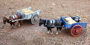 Uneek 801: HO Gauge Railway: Accessories: Two-wheeled Farmers Cart and Horse: Pkt 1: No. 801