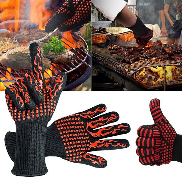(Factory Outlet) (50% OFF today!)Heat Resistant Barbecue BBQ Grilling Gloves Kitchen Cooking Oven Mitts (-109ºF to 1472ºF)
