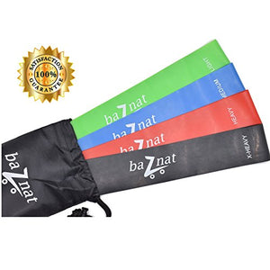 "Resistance Bands - Set of 4 Premium 12"" Bands With Bag"