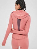 Contrast Hooded Paneled Sports Top - Flamingo Pink