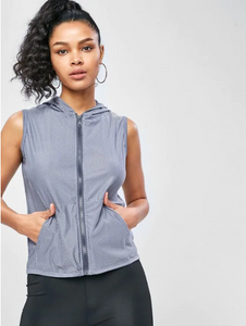 Pocket Zip Hooded Gym Tank Top - Blue Gray