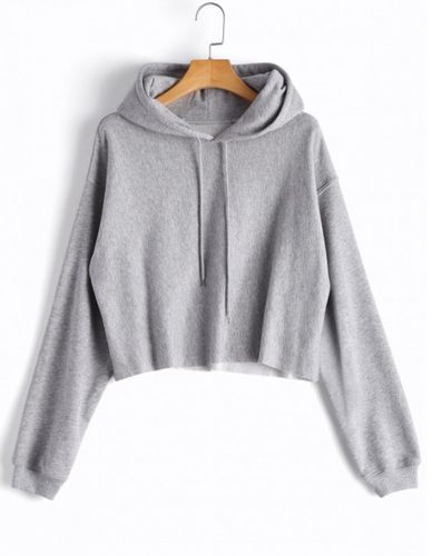 Cropped Drop Shoulder Pullover Hoodie