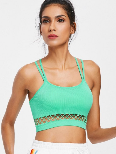 Seamless Cut Out Strappy Sports Bra