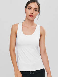 Asymmetric Mesh Draped Sports Tank Top
