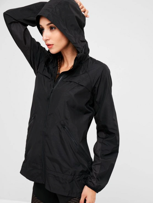 Eyelet Panels Hooded Jacket - Black