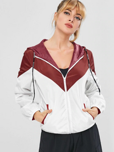 Color Block Hooded Windbreaker Jacket - Red Wine