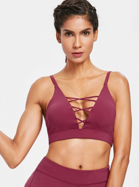 Mid Impact Lattice Plunge Sports Bra