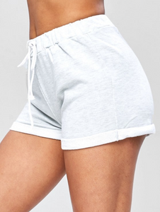 Casual Drawstring Roll Hem Shorts