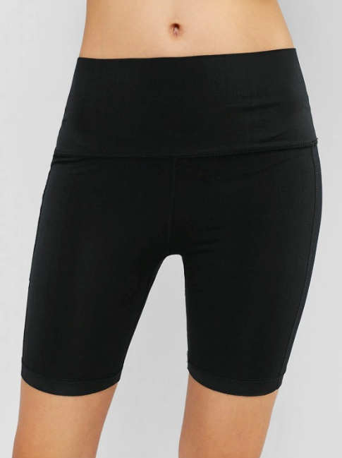 Gym Wide Waistband Pocket Biker Shorts